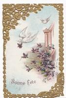 Csipkés, aranyozott, dombornyomású képeslap