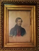 Antik nemes magyar(?) férfi portré 1830ból. Aláírás:W.....(?) Petrowsky. Akvarell/vegyes technika!