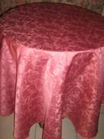 Csodaszép elegáns vintage rózsás kerek selyemdamaszt terítő