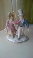 ENSZ GERMANY fiú lány páros figurális porcelán szobor