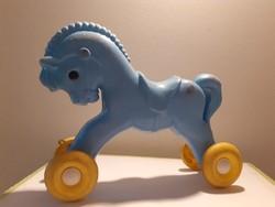 Retro játék műanyag ló guruló kék lovacska