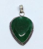 Indiai kézműves zöld aventurin ezüst medál