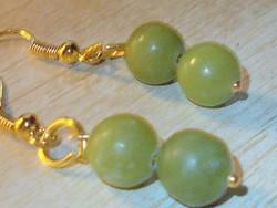 Természetes Jade ásvány Gyöngy kézműves Aranyozott Fülbevaló