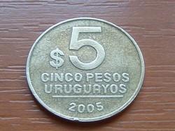URUGUAY 5 PESOS 2005 ARTIGAS SO (SANTIAGO) #