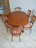 Étkezőgarnitúra, 6 szék, bővíthető ovális ebédlő asztal, étkező, székek, terítők, védő takarók 130+