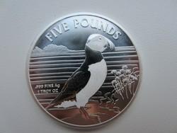 2019 Puffin madár angol Alderney ezüst érme 0.999 1 uncia 31gr