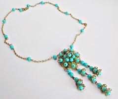 Díszes kék gyöngyös retro nyakék nyaklánc