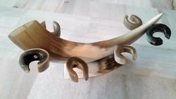 Art Deco szaruból, csontból készült pohártartó, kínáló