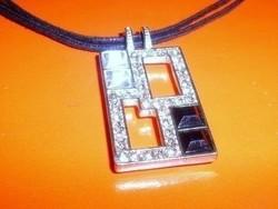 Amulett Onix - Cirkon köves Tibeti Ezüst Iparművész Nyaklánc