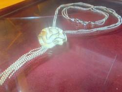 3D-s Rózsa 925 ezüst  kéttónusú Dupla szálú Gyöngyös Nyaklánc