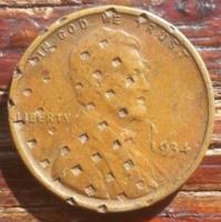 1934 verdehibas USA 1 cent nagyon ritka gyűjtői darab.