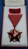 Vörös Csillag Érdemrend, aranyozott, zománcozott kitüntetés