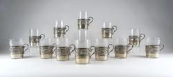0Z109 Empire üvegbetétes ezüst pohártartó készlet