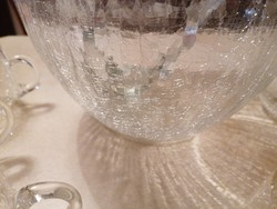 Különleges, repesztett üvegből készült bólés /puncsos készlet 6 csészével, merőkanállal. Meseszép!!