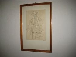 Hévízi Piroska  1911- 1994    / SZOT - díjas /  tusrajz  18x26 és 28x 41 cm  kerettel