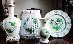 Gyönyörű és hibátlan Herendi Zöld Indiaikosár mintás porcelán készlet