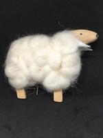 Fa bárány igazi gyapjúval húsvéti dekoráció