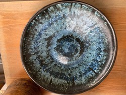 Hatalmas Laborcz Mónika kerámia falitál, tányér, tál, 36 cm.