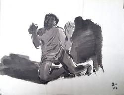 Borsos Miklós -  30 x 40 cm tus, papír 1987