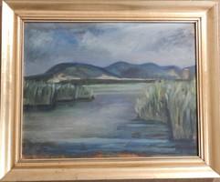 Festmény; Balatonfüred Tihanyból
