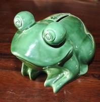 Bank Burgenland zöld nagy porcelán béka persely - Ritka, gyűjtői darab