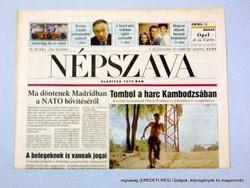 1997 július 8  /  NÉPSZAVA  /  SZÜLETÉSNAPRA! EREDETI NAPILAP! Szs.:  13851