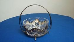 Tulipán mintás fém (alpakka?) kínáló kristály üveg betéttel