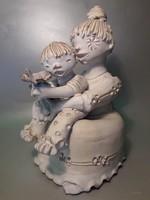 Kovács Éva - Anyák napján - kerámia szobor jelzett eredeti