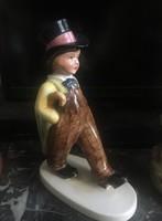 Ritka antik Rosenthal /1933/ porcelán kisfiú esernyővel