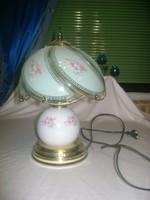 Asztali lámpa, éjjeli lámpa - festett üveg, porcelán, fém