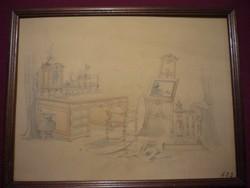 Antik enteriőr ceruzarajz 1800-as évekből