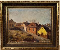 Turmayer Sándor (1879 - 1953) Tabán című olajfestménye EREDETI  GARANCIÁVAL !!