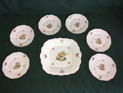Herendi fácános 6 személyes porcelán süteményes készlet