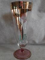 Aranyozott kézzel festett talpas pohár