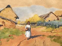 NEOGRÁDY ANTAL:-HAZAFELÉ-/1861-1942-akvarell
