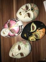 4 db karneváli maszk olasz maszk (egyik porcelán!)