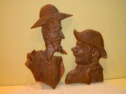 Jelzett kézi faragású Don Quijote és Sancho Panza fali dísz.