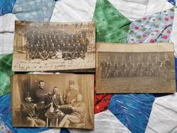 Pécsi 19.honvéd gyalogezred 3 db. Fotó 1914.bol.. És kB. 1900 as a jobb oldali!