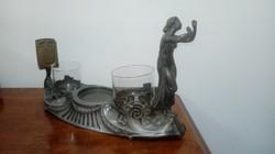Szecessziós ón figurális dísztárgy