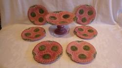 Schütz Cilli szecessziós fajansz tortatál és 6 db tányérral