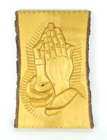 0Z338 Vallási szentkép székely fafaragás 20 x 30
