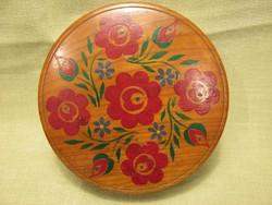 Kézzel festett virágmintás fa doboz ékszertartó