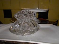 Súlyos (1400 g)  csiszolt üveg tartó , bonbonier