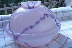 Rózsaszínű   márványmintás art deco nagy méretű üveg lámpa búra