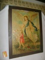 Régi olajnyomat, szentkép, egyházi kép keretezve