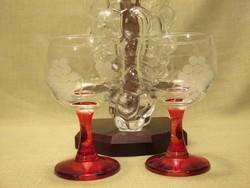 Boros készlet szőlőfürt alakú üveg palack és pohár