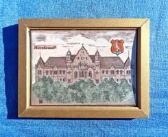 Kecskemét városháza, jelzett zománckép