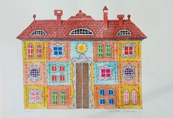 Molnár Gabriella - Házak 18 x 22 cm akvarell, papír