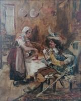 Bruck Lajos(1846-1910): Testőr a fogadóban. Jelzett olajfestmény.