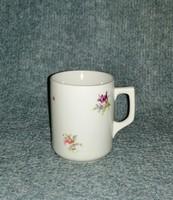 Régi Zsolnay porcelán virágmintás bögre (9/d-1)